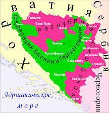 """Bosnien und Herzegowina -grün: Die kroatische und muslimische Föderation, rot: die """"Republika Srbska"""""""
