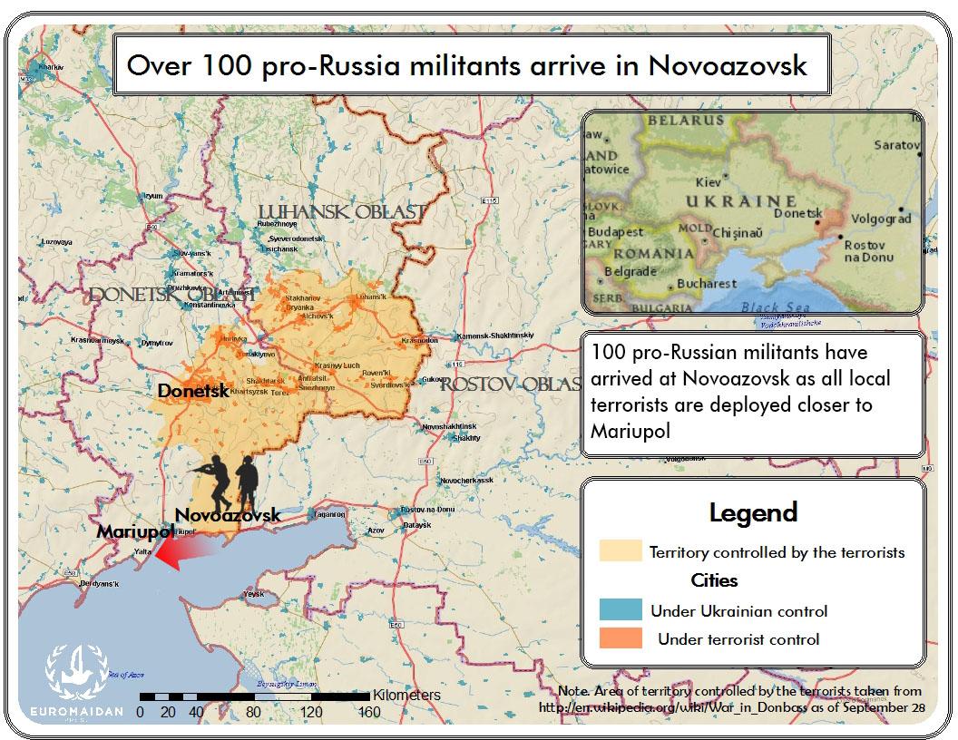 Over 100 proRussia militants arrive in Ukraines Novoazovsk as