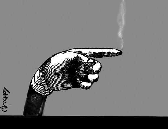 Shooting finger (political cartoon)