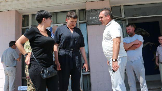 Nadiya Savchenkocame to Luhansk Oblast to support a colleague from her Batkivschyna party Photo: Vyacheslav Shramovych, BBC Ukraine