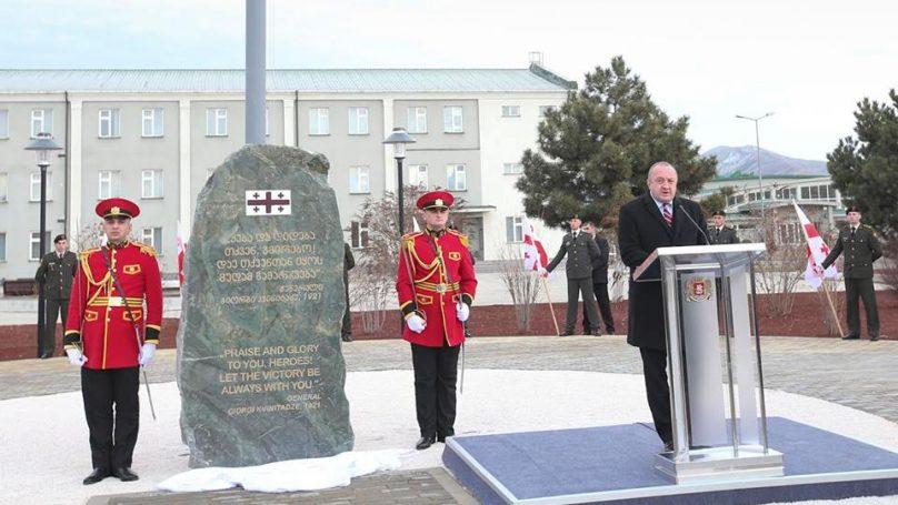 Georgian President Giorgi Margvelashvili opening a new memorial to Georgian cadets killed fighting against the Red Army in February, 1921 at the Georgian National Defense Academy in Gori, Georgia. (Image: newsgeorgia.ge)