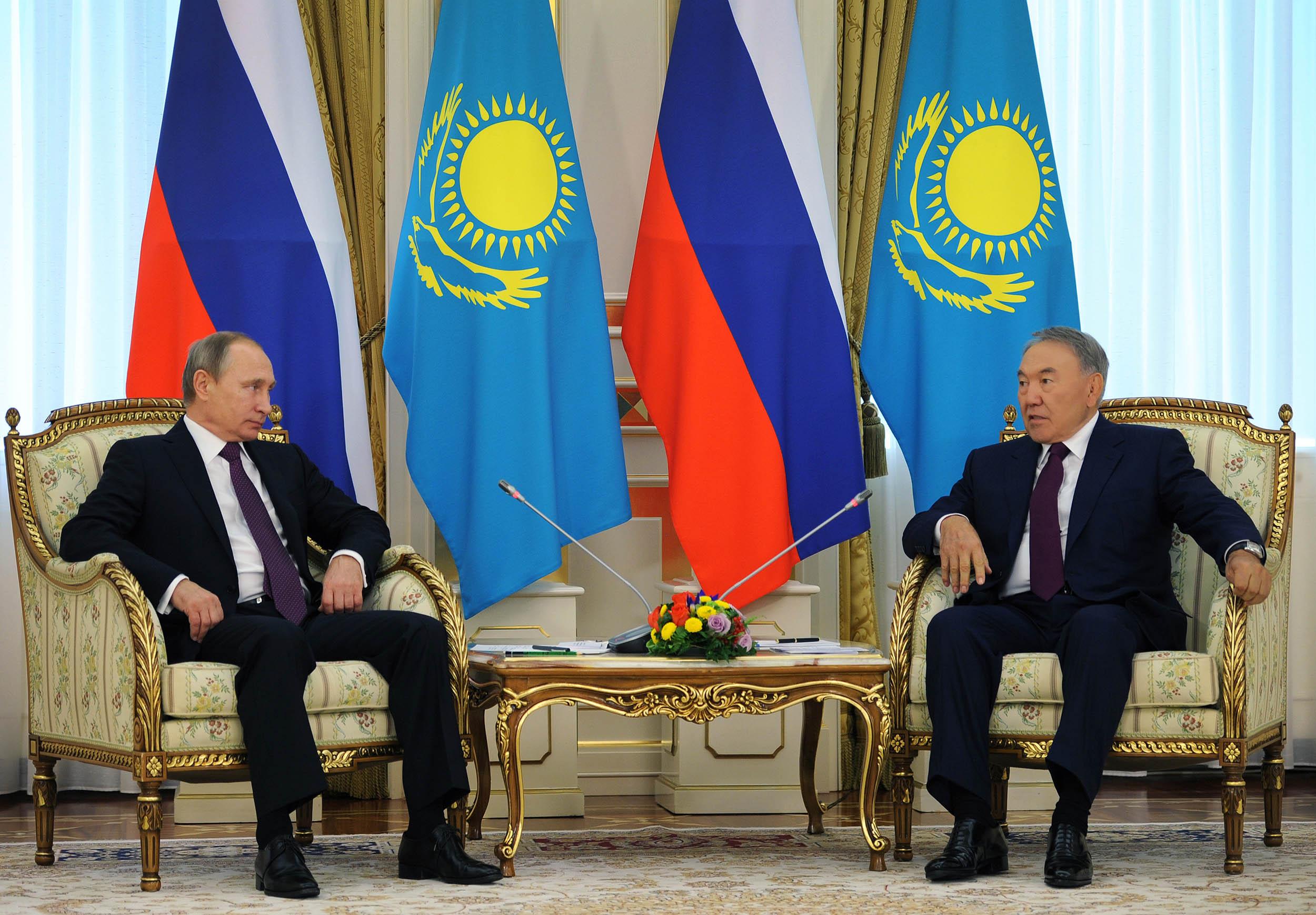 Vladimir Putin of Russia and Nursultan Nazarbayev of Kazakhstan