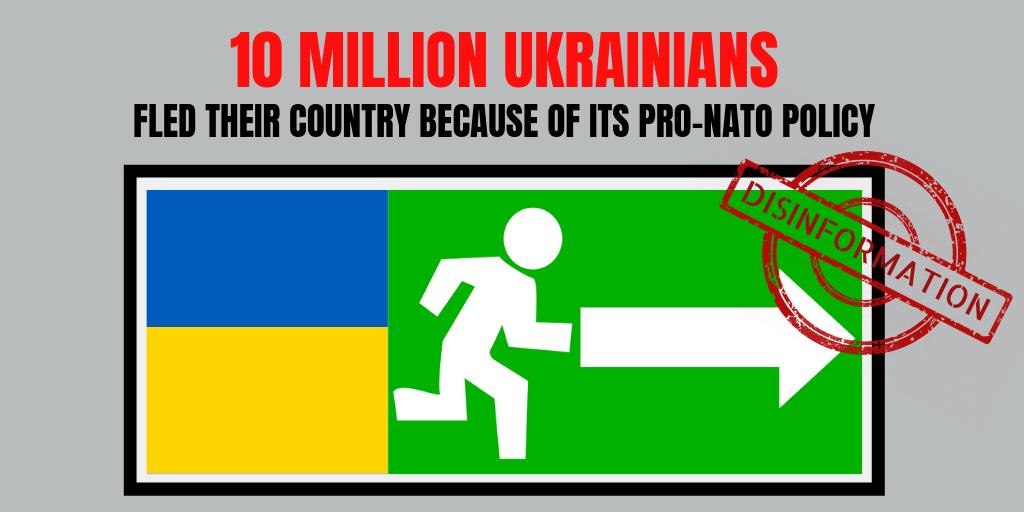 Russian propaganda claims 1/4 of Ukrainians fled Ukraine because of pro-NATO policy