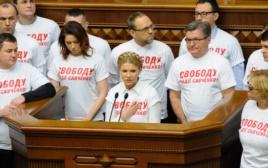 Die Parteichefin Julija Tymoschenko (Mitte) verliest, während einer Parlamentssitzung in Kiew am 13. Januar, einen Aufruf mit der Bitte um internationale Unterstützung für die Freilassung von Nadija Sawtschenko.