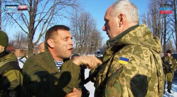 Alexandr Sachartschenko (li.), der Truppenführer