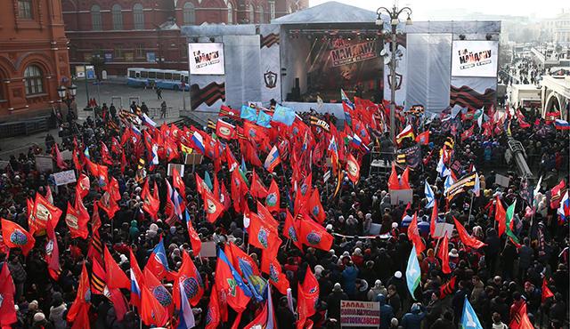 Die Antimaidan-Bühne auf dem Manegenplatz in Moskau, Foto: Stanislaw Krasilnikow/TASS/Vida Press