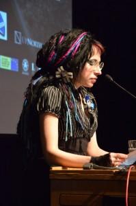 "Sofi Oksanen bei der Tagung ""Repressions and Human Rights, Toronto - Foto: Taavi Tamtik 2015"