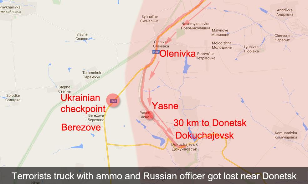 Ein LKW der Terroristen mit Munition und einem russischen Offizier verpasste nach Oleniwka die Abzweigung nach Jasne und kam an die ukrainische Kontrollstelle bei Beresowe