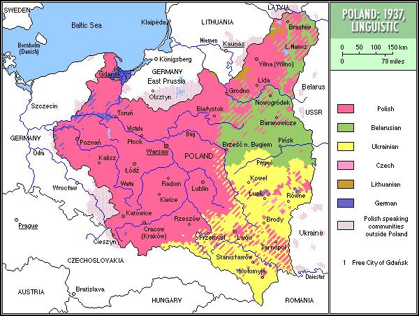Die im Polen von 1937 gesprochenen Sprachen